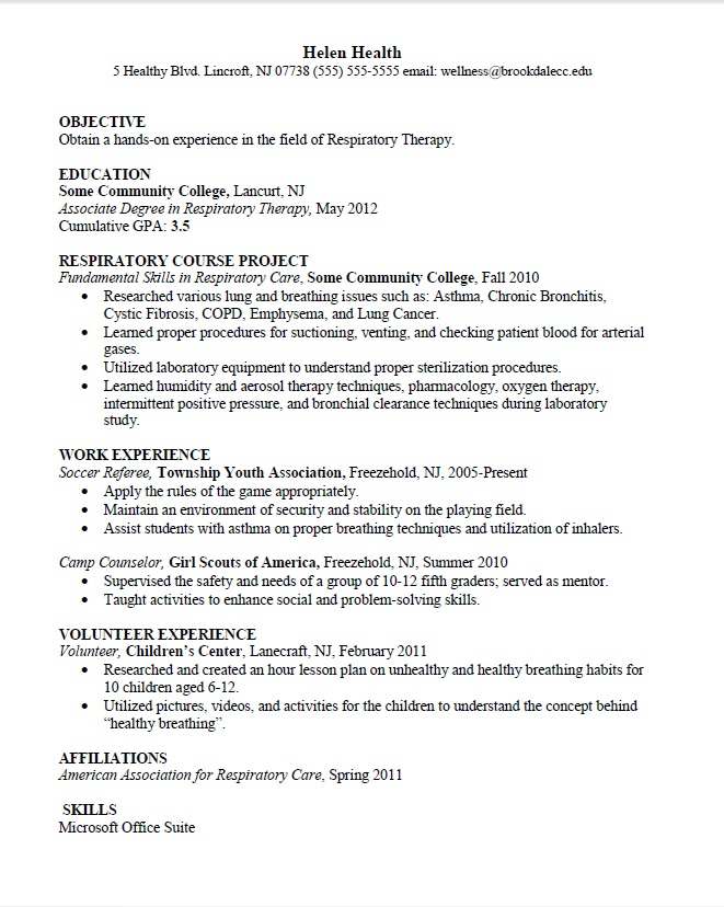 do respiratory therapist resume examples - Resume Examples For Massage Therapist